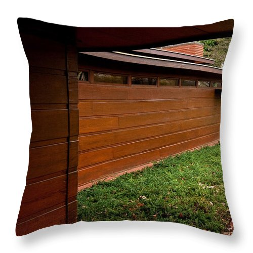 Featured Throw Pillow featuring the photograph Fllw Rosenbaum Usonian House - 2 by Paulette B Wright