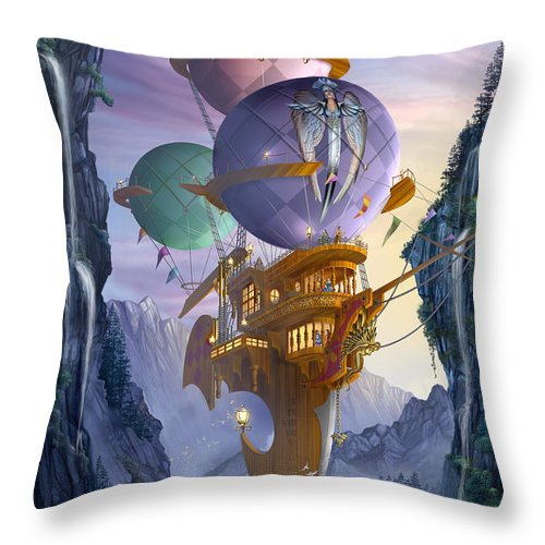 Ciro Marchetti Throw Pillow featuring the digital art Floatilla by MGL Meiklejohn Graphics Licensing