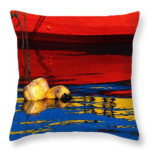 Reflection Throw Pillow featuring the photograph Floating Buoys And Reflections by James Brunker