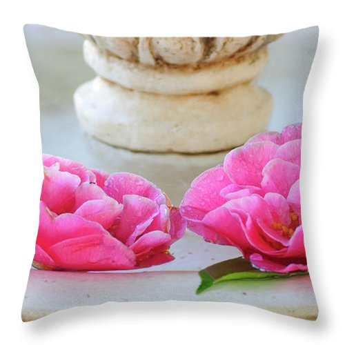 Flowers Throw Pillow featuring the photograph Floating Camellias by Diego Re