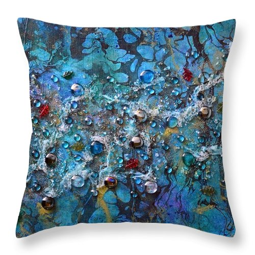 River Throw Pillow featuring the mixed media Floating Down The River by Donna Blackhall