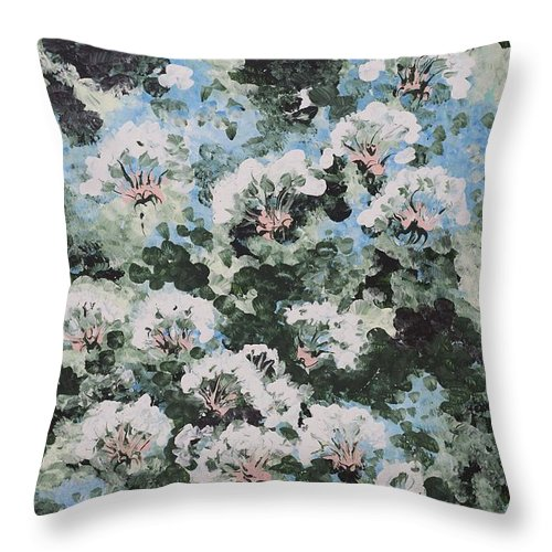 Abstract Throw Pillow featuring the painting Floating Flower Fantasy by Gladys Berchtold