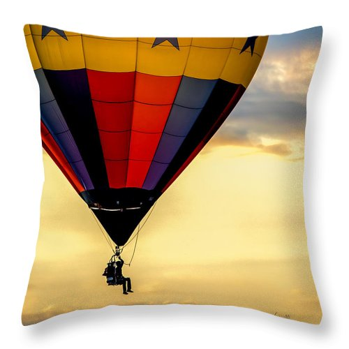 Hot Air Balloon Throw Pillow featuring the photograph Floating Free by Bob Orsillo