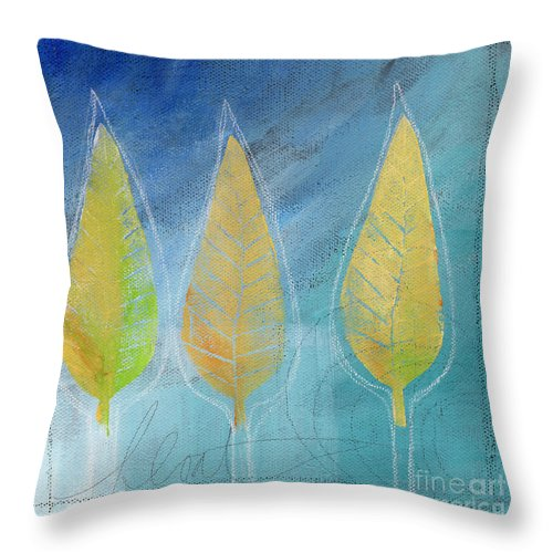 Abstract Throw Pillow featuring the painting Floating by Linda Woods