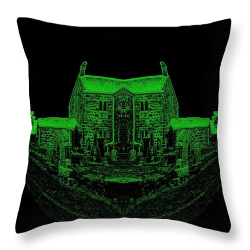 Geode Throw Pillow featuring the photograph Floating Manor House In Green by James Potts