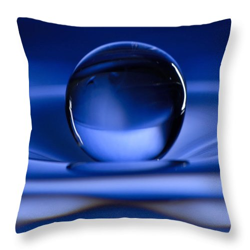 Water Drop Throw Pillow featuring the photograph Floating Water Drop by Anthony Sacco
