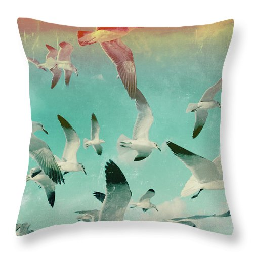 Animal Themes Throw Pillow featuring the photograph Flock Of Seagulls, Miami Beach by Michael Sugrue