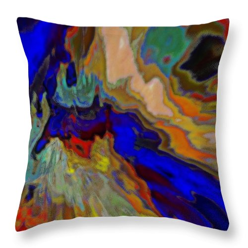 Abstract Throw Pillow featuring the mixed media Flood Zone by Wendie Busig-Kohn