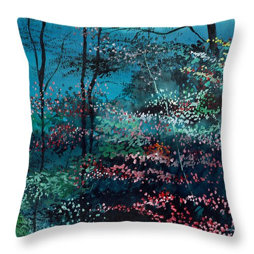 Nature Throw Pillow featuring the painting Flora 1 by Anil Nene