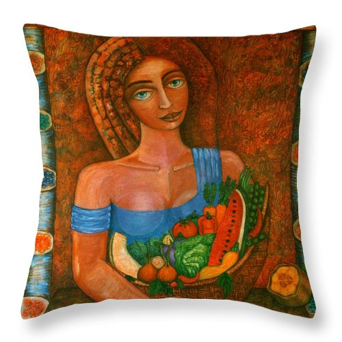 Acrylic Throw Pillow featuring the painting Flora - Goddess Of The Seeds by Madalena Lobao-Tello