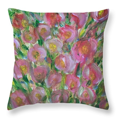 Original Throw Pillow featuring the painting Floral Burst by Susan Turner Soulis