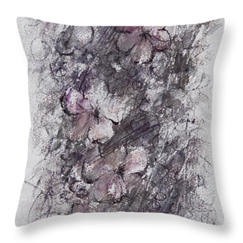 Floral Throw Pillow featuring the painting floral cascade II by William Russell Nowicki
