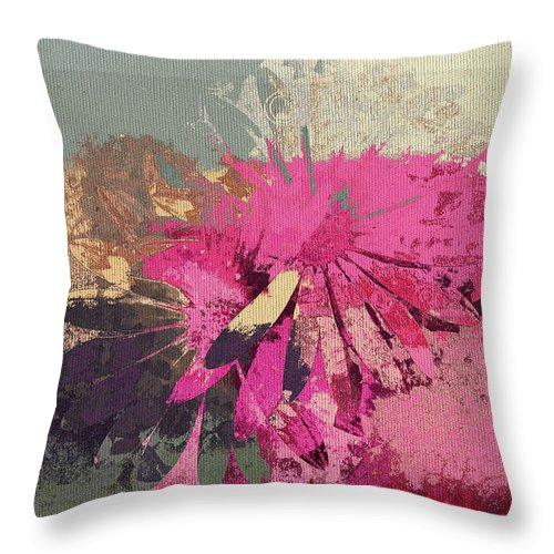 Daisies Throw Pillow featuring the digital art Floral Fiesta - S33bt01 by Variance Collections