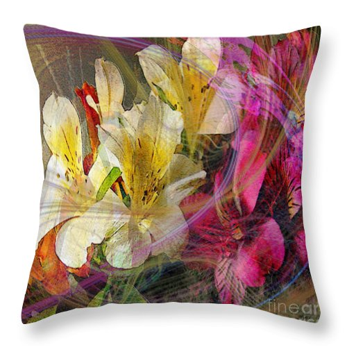 Floral Inspiration Throw Pillow featuring the digital art Floral Inspiration - Square Version by John Robert Beck