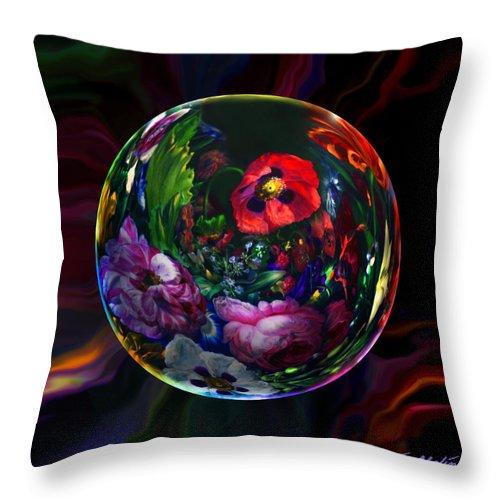 Still Life Throw Pillow featuring the digital art Floral Still Life Orb by Robin Moline