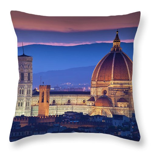 Built Structure Throw Pillow featuring the photograph Florence Catherdral Duomo And City From by Richard I'anson