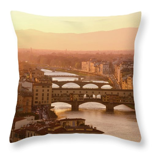 Campanile Throw Pillow featuring the photograph Florence City During Golden Sunset by Dragos Cosmin Photos