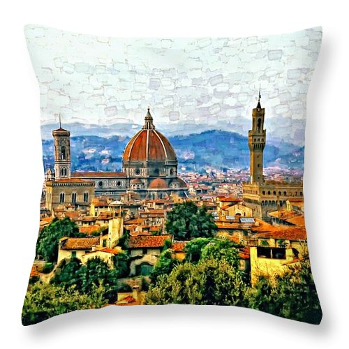 Florence Throw Pillow featuring the photograph Florence Watercolor by Steve Harrington
