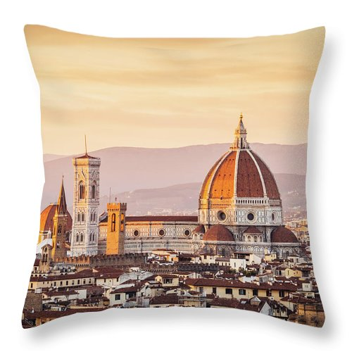 Campanile Throw Pillow featuring the photograph Florences Cathedral And Skyline At by Filippobacci