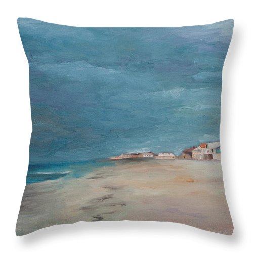 Beach Throw Pillow featuring the painting Florida Beach by Julie Dalton Gourgues