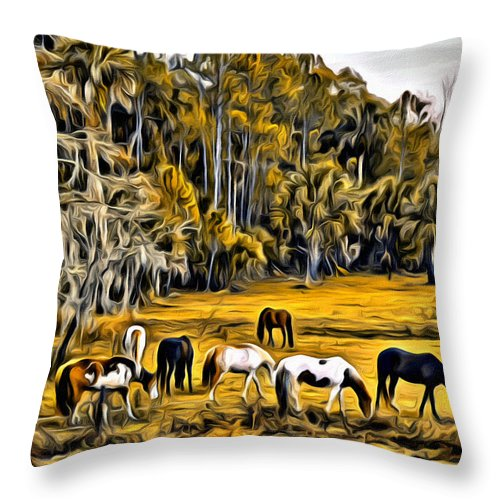 Horses Swamp Florida Throw Pillow featuring the photograph Florida Horses Two by Alice Gipson