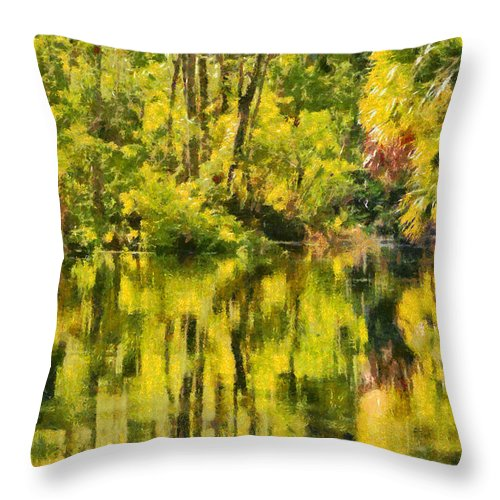 Silver Throw Pillow featuring the painting Florida Jungle by Christine Till