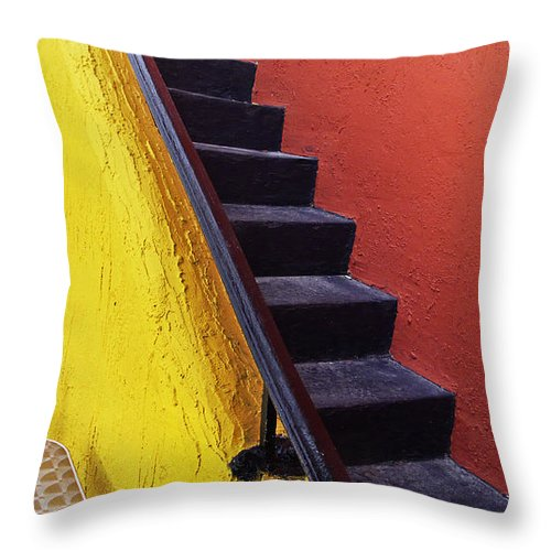 Florida Throw Pillow featuring the photograph Florida Yellow And Orange Wall Stairs by Andy Mars