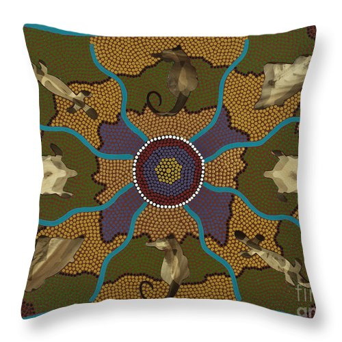 Aboriginal Throw Pillow featuring the painting Flow Of Life by Clifford Madsen