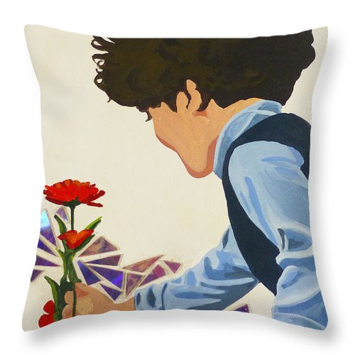 Hanzer Art Throw Pillow featuring the painting Flower Child by Jack Hanzer Susco