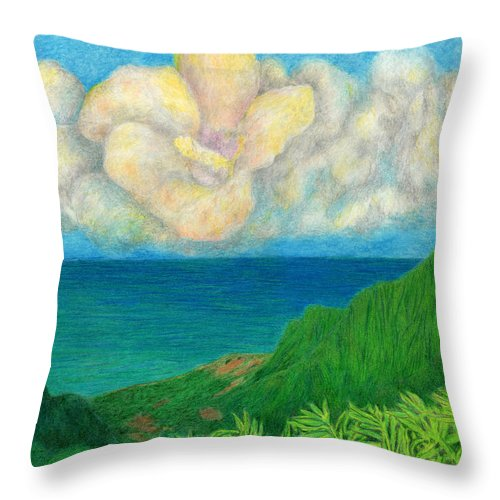 Flower Throw Pillow featuring the drawing Flower Cloud by Kenneth Grzesik