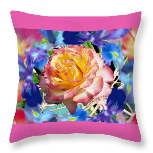 Flowers Throw Pillow featuring the digital art Flower Dance 2 by Lisa Yount