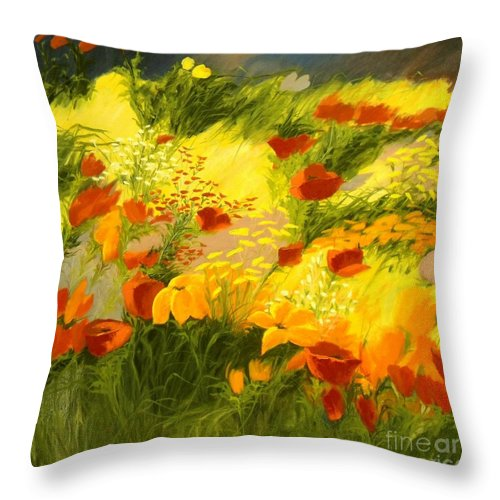 Canvas Prints Throw Pillow featuring the painting Flower Fantasy by Madeleine Holzberg