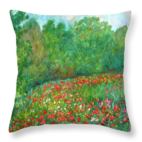 Blue Ridge Paintings Throw Pillow featuring the painting Flower Field by Kendall Kessler