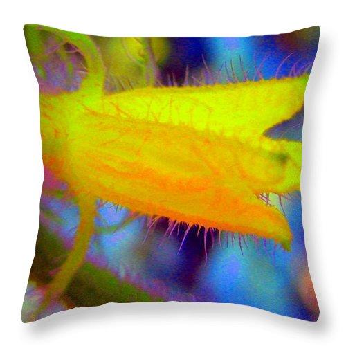 Flower Throw Pillow featuring the photograph Flower - Garden - Cucumber by Susan Carella