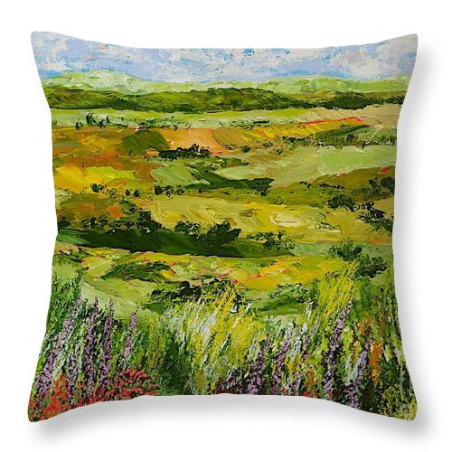 Landscape Throw Pillow featuring the painting Flower Gate by Allan P Friedlander