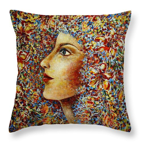 Flower Goddess Throw Pillow featuring the painting Flower Goddess. by Natalie Holland