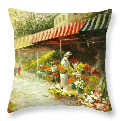 Canvas Prints Throw Pillow featuring the painting Flower Market by Madeleine Holzberg