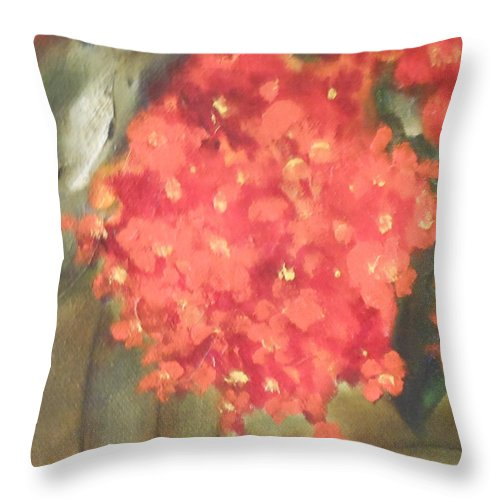 Abstract Throw Pillow featuring the painting Flower On The Wall by Lord Frederick Lyle Morris - Disabled Veteran