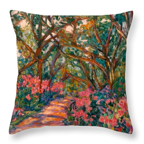 Flowers Throw Pillow featuring the painting Flower Path by Kendall Kessler