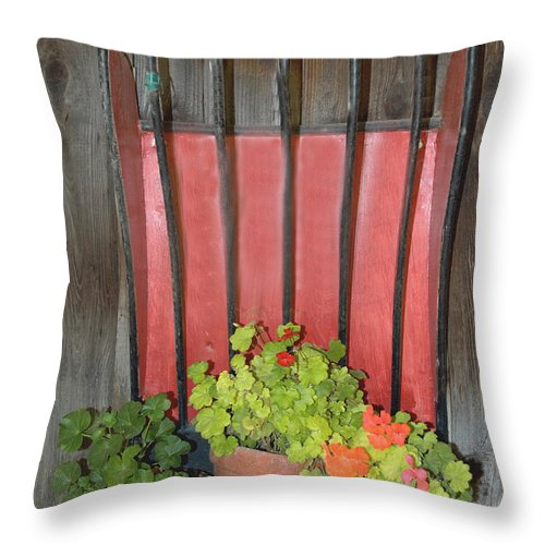 Flower Pots Throw Pillow featuring the digital art Flower Pots by Barbara Snyder