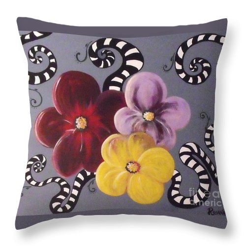 Acrylic On Canvas Throw Pillow featuring the painting Flower Power by Rosana Modugno