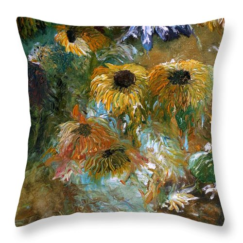 Flowers Throw Pillow featuring the painting Flower Rain by Jack Diamond