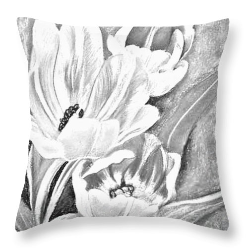 Flowers Throw Pillow featuring the drawing Flower Sketch by Mya Soliman