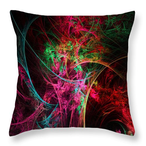 Flower In A Vase Abstract Throw Pillow featuring the digital art Flowerful Vase by Lourry Legarde