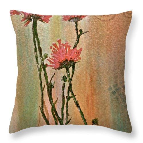 Doris Neven Throw Pillow featuring the painting Flowers 3 by Doris Neven