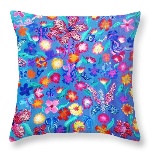 Floral Throw Pillow featuring the painting Flowers And Butterflies by J Andrel