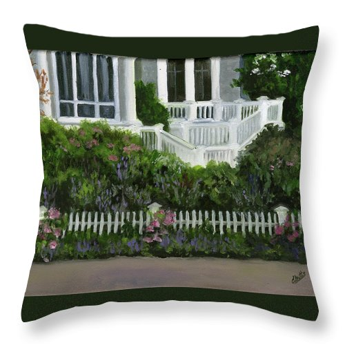 Bay Head Throw Pillow featuring the painting Flowers At Bay Head by Deborah Butts