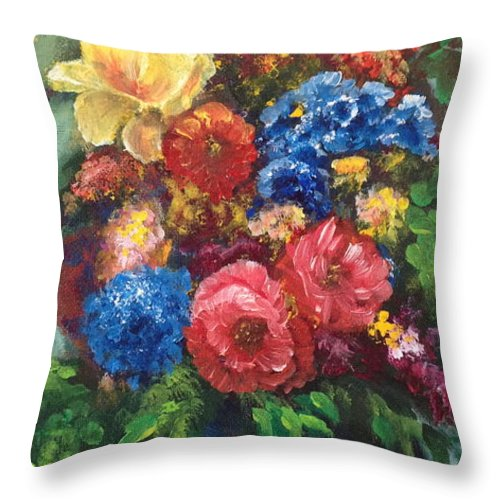 Flowers Throw Pillow featuring the painting Flowers by Bozena Zajaczkowska
