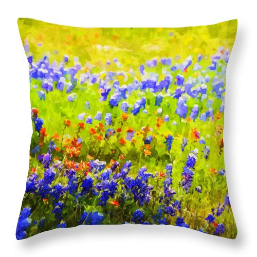 Background Throw Pillow featuring the painting Flowers Field Background by Jeelan Clark