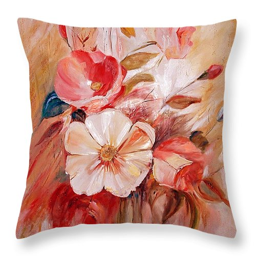 Modern Art Throw Pillow featuring the painting Flowers I by Silvana Abel